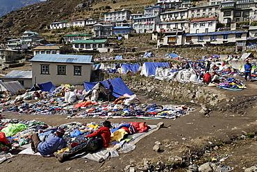 Tibetan market at Namche Bazar, Sagarmatha National Park, Khumbu, Nepal
