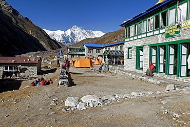 Trekking lodge at Gokyo with Cho Oyu (8201), Sagarmatha National Park, Khumbu Himal, Nepal