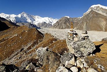 View from Gokyo over Ngozumpa glacier towards Cho Oyu (8201) and Mahalangur Himal, Sagarmatha National Park, Khumbu Himal, Nepal