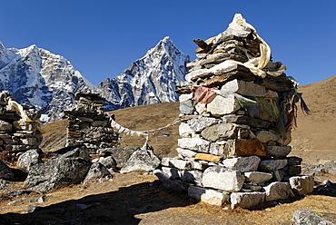 Sherpa and Mountaineer cemetery at Thokla Pass, Khumbu Himal, Sagarmatha National Park, Nepal