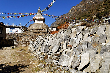 Mani wall at Thamo Sherpa village, Sagarmatha National Park, Khumbu Himal, Nepal