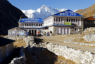 Trekking lodge at Gokyo with Cho Oyu (8201), Sagarmatha National Park, Khumbu Himal, Nepal