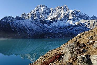 Holy lake Dudh Pokhari near Gokyo and Pharilapche(6017), Sagarmatha National Park, Khumbu, Nepal
