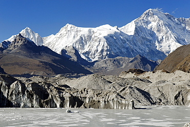 Glacier lake on Ngozumpa glacier with Cho Oyu (8201), Khumbu Himal, Sagarmatha National Park, Nepal
