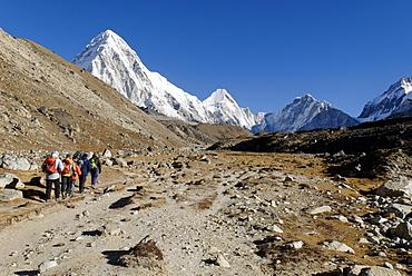 Trekking group on Khumbu glacier with Pumori (7161), Khumbu Himal, Sagarmatha National Park, Nepal