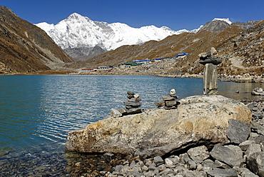 Holy lake Dudh Pokhari near Gokyo with Cho Oyu (8201), Sagarmatha National Park, Khumbu Himal, Nepal