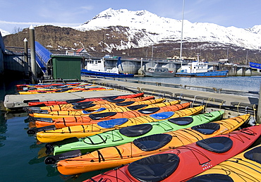 Sea kayaks, Valdez Small Boat Harbour, Prince William Sound, Alaska, USA
