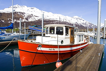 Recreational fishing boat, Valdez Small Boat Harbour, Prince William Sound, Alaska, USA