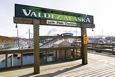 Valdez Fish Derbies, sign, Small Boat Harbour, Valdez, Prince William Sound, Alaska, USA