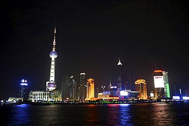 Pudong skyline at night, Shanghai, China