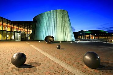 The new music school at dusk, Fellbach, Stuttgart, Baden-Wuerttemberg, Germany