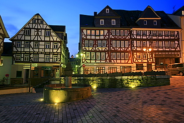 Half-timbered houses, Kornmarkt in the historic centre of Wetzlar, Hesse, Germany