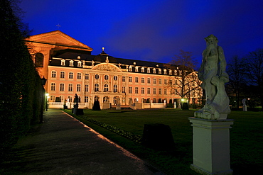 Constantine Basilica and Palace of the Prince Elector viewed from the statues in the palace garden, Roman town Trier, Rhineland-Palatinate, Germany, Europe