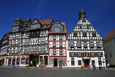 Half timbered houses on the market square in the centre of Butzbach, Hesse, Germany, Europe