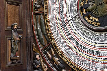Detail of the astronomical clock from 1472, St. Mary's Church, Rostock, Mecklenburg-Western Pomerania, Germany