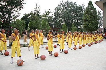 Taji show, children at a Kungfu presentation, Chenjiagou, Henan, China