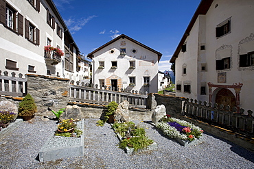 Historic houses and cemetery, Guarda, Lower Engadine, Grisons, Switzerland, Europe