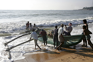 Fishing boat on the beach, Tangalle, Sri Lanka, Asia
