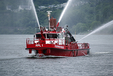 "Fire boat ""RLP-1"" during a rescue exercise on the Mosel River near Koblenz, Rhineland-Palatinate, Germany, Europe"