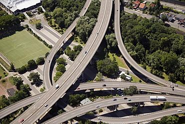 Labyrinthine spaghetti junction at the entrance to the Suedbruecke Bridge at Koblenz, Rhineland-Palatinate, Germany, Europe