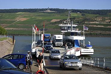 Car ferry, Rhine River, Bingen, Rhineland-Palatinate, Germany, Europe