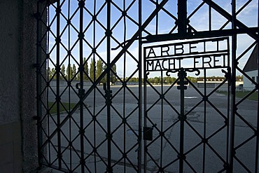 Iron gate at the main entrace with the inscription work frees you in the concentration camp in Dachau
