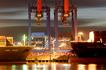 Container ships at the container terminal Altenwerder, Hamburg, Germany