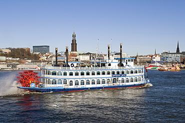 Docks and the Louisiana Star luxury steamboat, Hamburg, Germany, Europe