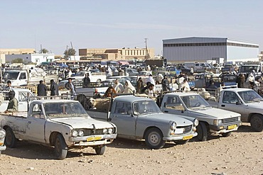 Cars at a market place, Lybia