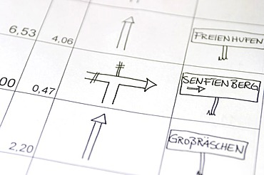 Section of a roadbook directions