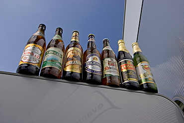 Seven Czech beer bottles