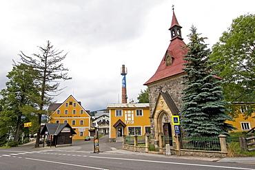 Chapel of the holy Elisabeth, 1902, and glass factory Novosad, Harrachov, Czechia