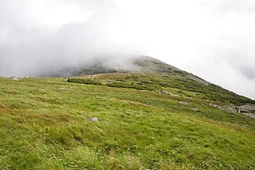 View to the overcast Snezka, 1602 m, Giant Mountains, Czechia