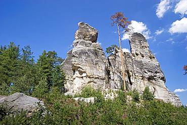 Sandstone rock Skaut, Boehmisches Paradies, Cesky Ray, Czech Republic
