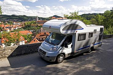 Campmobile on the street, Cesky Krumlov, Czech Republic, Europe