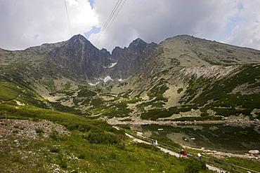 View to the summit of the Lomnick? oetit mountain, 2634 m, seen from Skalnate pleso station, High Tatras, Slovakia