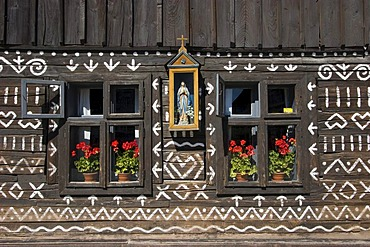 Rajec valley, town of Cicmany with timber buildings, the paint was supposed to help against wetness and seasoning, Slovakia