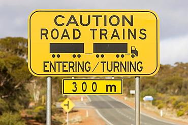 Warning sign (Caution Road Trains), Western Australia, WA, Australia