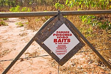 Sign (Danger, poisoned baits in this area), Dampier Peninsula, Western Australia, WA, Australia