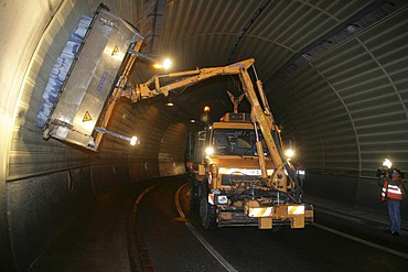 A special-purpose-vehicle is cleaning the walls of the Glockenberg-tunnel. Koblenz, Rhineland-Palatinate, germany