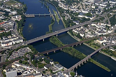 The bridges of the river moselle at Koblenz, Rhineland-Palatinate, Germany