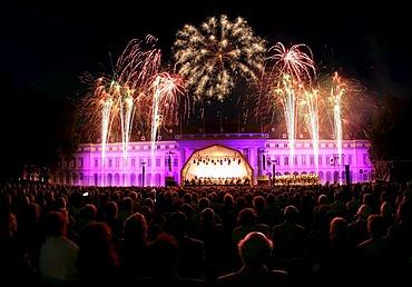 """Castle in flames"", music an fireworks at Koblenz castle. Koblenz, Rhineland-Palatinate, Germany"