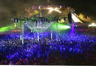 "Lightshow during the ""nature one""-techno-party near Kastellaun , Rhineland-Palatinate, Germany"