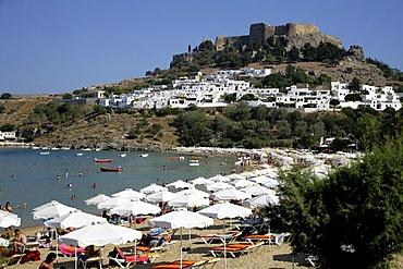 Lindos Beach on Rhodes, Greece, Europe