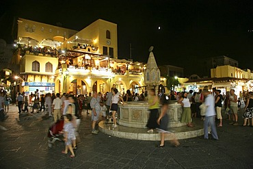 Old town of Rhodes by night, Greece, europe