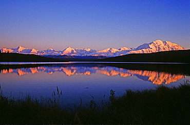 Mt. McKinley reflected on Wonder Lake by dawn's first light, Denali National Park, Alaska, USA