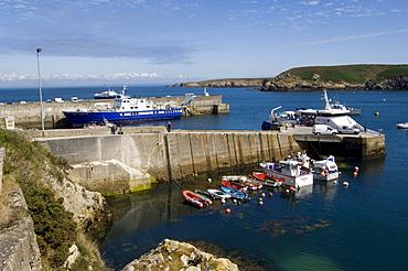 Boat harbour, Ile d'Ouessant Island, Bretagne, France, Europe
