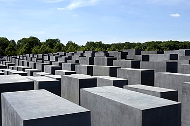 View over undulating field of the concrete steles of the Holocaust memorial in Berlin, Germany