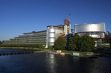 View of the European Court of Justice for human rights at the river Ill, Strasbourg, France