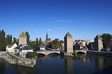 View of the historical bridge Ponts Couverts and the historical quarter Petit France in Stasbourg, France
